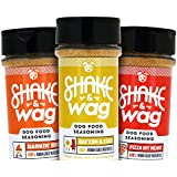 Shake & Wag Dog Food Seasoning Set - Human Grade, Gluten Free Powder Topper, Flavor Enhancer Gravy Picky Dogs - USA Made (3 Bottle Set - Bacon/Eggs, BBQ, Pizza)