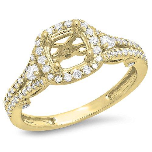 0.50 Carat (ctw) 14K Yellow Gold Pear & Round White Diamond Semi Mount Engagement Ring 1/2 CT (Size 6) (Yellow Gold Engagement Ring Mounting)
