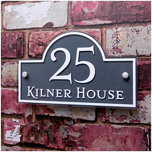 Customized/Personalized Modern Clear Acrylic House Signs Door Plates Plaques with Colorful Films Door Number and St. Name Sign Grey with White 15cm 25cm (Best House Number Numerology)