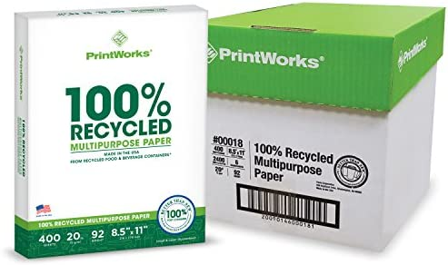 Printworks 100 Percent Recycled Multipurpose Paper, 20 Pound, 92 Bright, 8.5 x 11 Inches, 2400 sheets (00018C)
