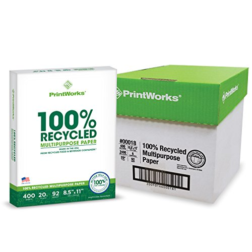 - Printworks 100 Percent Recycled Multipurpose Paper, 20 Pound, 92 Bright, 8.5 x 11 Inches, 2400 sheets (00018C)