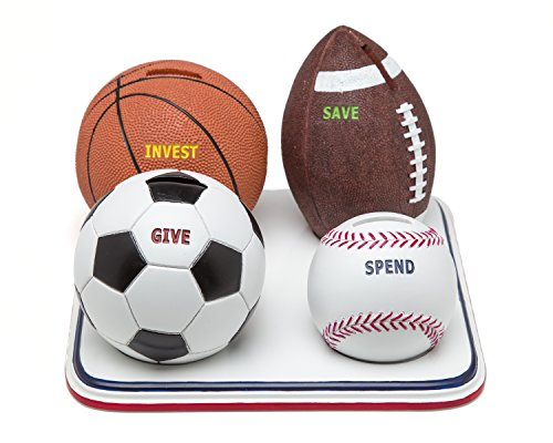 Money Scholar Classic Sports Bank: The Piggy Bank that Teaches Kids to Save, Invest, Give & Spend Wisely
