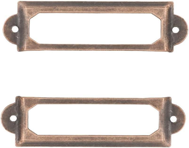 Adiyer [40 Pack] Office Library File Drawer Cabinet Card Tag Label Holder Metal Frame (Antique Copper)