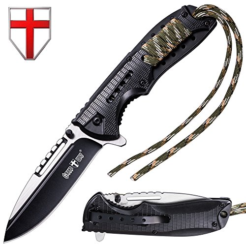 Spring Assisted Pocket Knife - Best Outdoor Camping Hunting Bushcraft EDC Folding Knife - Tactical Paracord Survival Military Foldable Knife - Stainless Steel Pocket Knives w/ Clip for Men Women BLACK by Grand Way