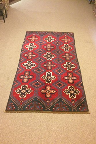 4.3X7.10 Feet Dark Blue And Red Room Size Star Design Wool On Wool Village Rug Vintage Rug Handmade Carpet Vintage Carpet.Code:DS639