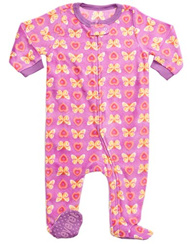 Leveret Little Baby Girls Fleece Footed Sleeper Pajama Onsie (Size 6 Months-5 Toddler) (2 Years, Butterfly)