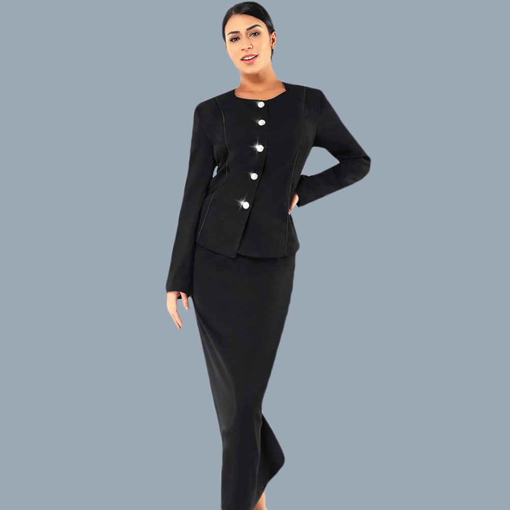Kueeni Women Church Suits with Hats Church Dress Suit for Ladies Formal Church Clothes Black by Kueeni (Image #2)