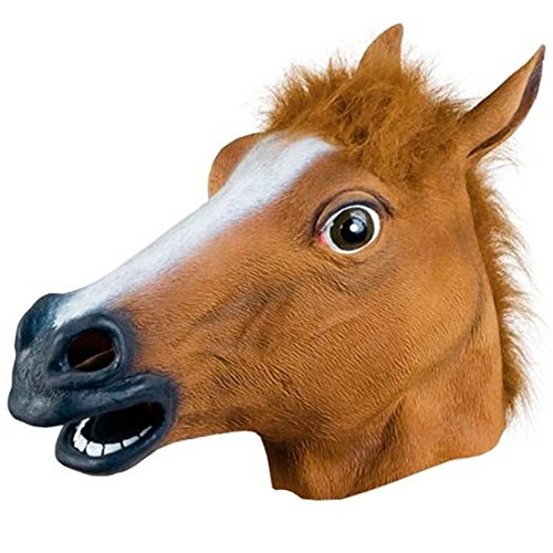 Multill Brown Horse Head Costume Party Latex Head Mask Novelty Halloween Party Decoration