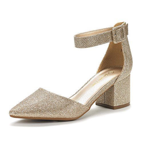 DREAM PAIRS Women's Annee Gold Glitter Low Heel Pump Shoes - 6.5 M US
