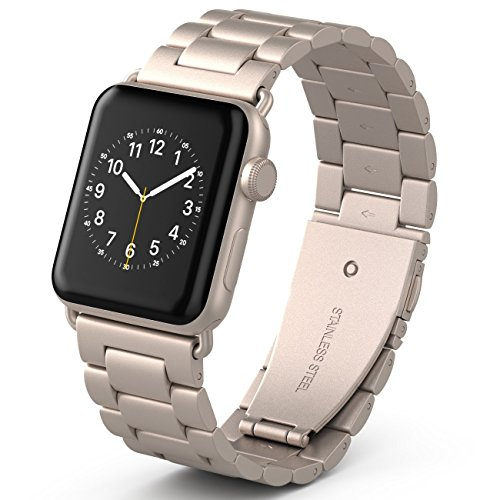 PUGO TOP Compatible with Gold Apple Watch Band 42mm 44mm Series 4/3/2/1 Men Women Stainless Steel Iwatch Strap Replacement Band with Modern Butterfly Buckle. (42mm/44mm, Gold)