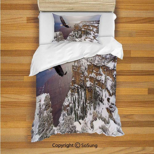 Canyon Headboard - SoSung Wildlife Decor Kids Duvet Cover Set Twin Size, Aerial View of Bald Eagle Flying in Snowy Grand Canyon Rocky Arizona USA 2 Piece Bedding Set with 1 Pillow Sham,White Brown