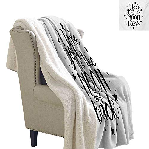 Michaeal I Love You Blanket Small Quilt 60x78 Inch Romantic I Love You to The Moon and Back Motivational Valentines Lifestyle Digital Printing Blanket Black White