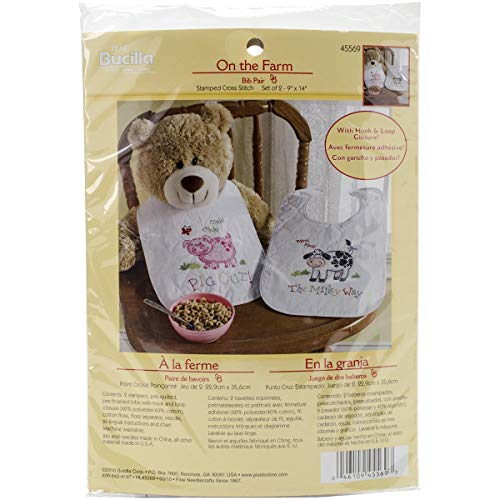 Bucilla Stamped Cross Stitch Bib Pair Kit, 9 by 14-Inch, 45569 On The Farm (Set of 2)