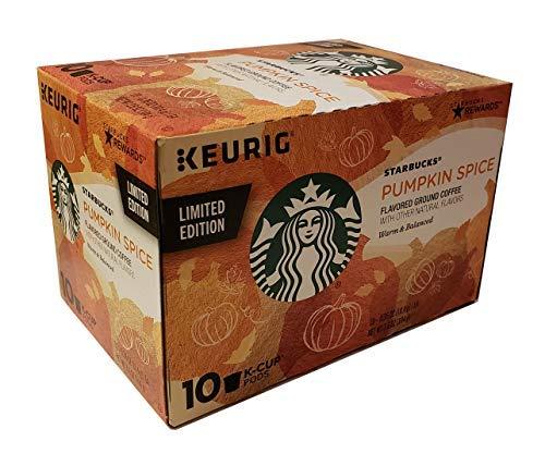 Starbucks Pumpkin Spice Flavored Ground Coffee 1 box of 10 K-Cup Single Serve Pods, 1 box of 10,Orange,