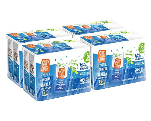 Good Karma Flaxmilk Vanilla 6.75 oz. Lunchbox Cartons (Shelf Stable 24 Pack) Great for Kids