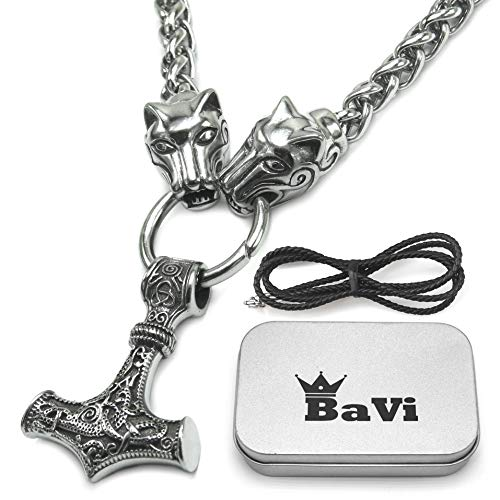 BaviPower Mjolnir The Thor's Hammer Pendant with Fenrir Wolf Head Chain Necklace ()