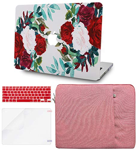 LuvCase 4 in 1 Laptop Case for MacBook Pro 16 Touch Bar (2020/2019) A2141 Hard Shell Cover, Sleeve, Keyboard Cover & Screen Protector (Flower 25)