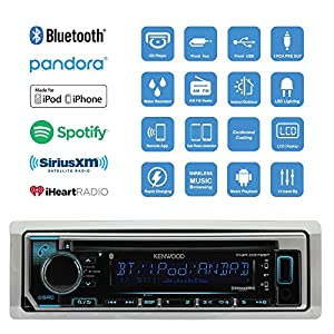 "Kenwood Bluetooth Radio CD Receiver In-Dash Marine Boat Audio Bundle with Pair of Enrock 6.5"" Stereo Speakers, Stereo Waterproof Cover, 18g 50ft Marine Speaker Wire (Black)"