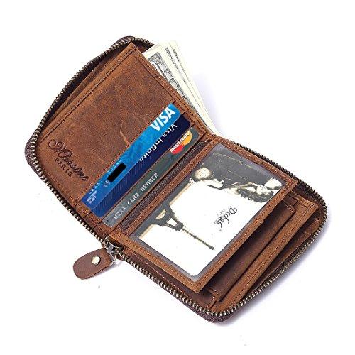 Men's RFID Leather Zip Around Wallet ID Card Window Secure Zipper Bifold ()