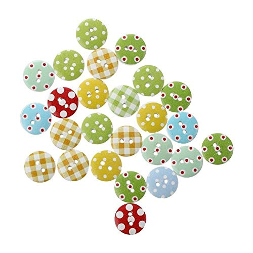 Gingham Painted Wooden Buttons in Mixed Colours (15Mm X 25Pcs Pack) Perfect D3I3