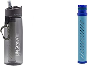 LifeStraw Go Water Bottle 2-Stage with Integrated 1 000 Liter LifeStraw Filter and Activated Carbon Grey w/ LifeStraw Go Water Bottle 2-Stage Replacement Filter, Blue