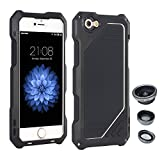 "AENMIL iPhone 5/5G/5S/SE 4"" Case, 3-in-1 Water + Shock + Dust Proof with Wide Angle Macro Fisheye Lens and Tempered Glass Screen Protector, Silicone + Aluminum Bumper Cover - Black"