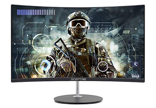 Sceptre 24 Curved 75Hz Gaming LED Monitor Full HD 1080P HDMI VGA Speakers, VESA Wall Mount Ready Metal Black 2019 (C248W-1920RN)