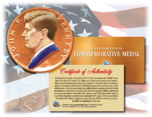 Colorized JOHN F. KENNEDY * Commemorative Medal * U.S. Inaugural Bronze Coin JFK Bronze Medal Us Mint