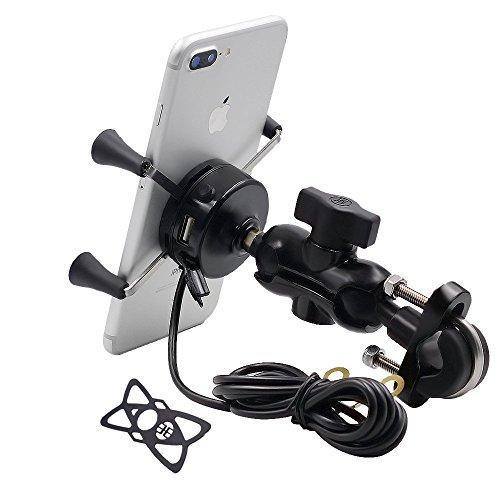 TR Turn Raise Motorcycle Phone Mount USB Charging Holder, Universal...