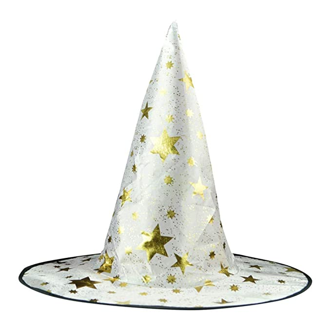 48c38c5aaf1 Muranba Halloween Witch Hat with Stars Printed Cap For Adult Womens Mens  (White)