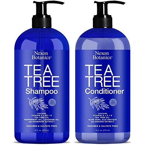 Tea Tree Shampoo and Conditioner 16 fl oz each - Special Combo for Itchy Dry Scalp and Hair Dandruff - Sulfate and Paraben Free - For Men Women - Includes Pure Natural Essential Oils - Nexon Botanics