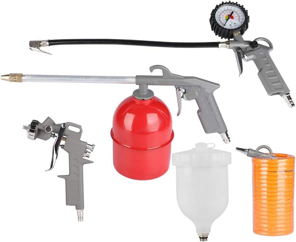 Apto para compresores SOULONG Juego de Pistola de Aire comprimido 5 m de Manguera, Pistola de pulverizaci/ón, Pistola de inflado de neum/áticos, Pistola de soplado 5 Piezas