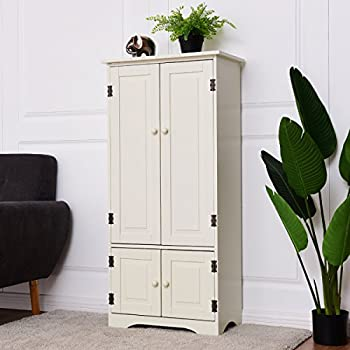 Giantex Accent Floor Storage Cabinet Adjustable Shelves Antique 2 Door Low  Floor Cabinet (White)