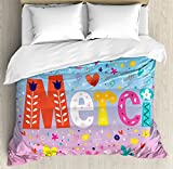 French Duvet Cover Set King Size by Ambesonne, Parisienne French Design Merci Thank You Gratitude Quote with Hearts Flowers Print, Decorative 3 Piece Bedding Set with 2 Pillow Shams, Multicolor