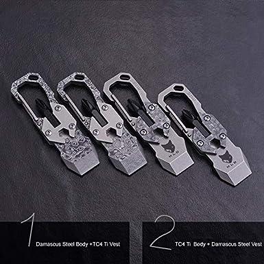 Amazon.com: Damasco Hoja de acero titanio gancho cuchillo ...