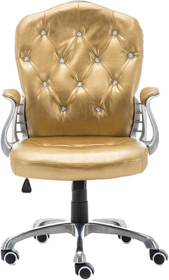 Delicate Rhinestone Inlay Non-Slip PU Wheel with Fixed Armrests Multi-Color Optional Swivel PU Leather Lounge Chair Fubas- Ergonomic Swivel Chair