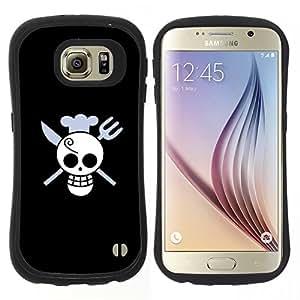 """Hypernova Slim Fit Dual Barniz Protector Caso Case Funda Para Samsung Galaxy S6 [Cráneo divertido del cocinero de la Muerte""""]"""