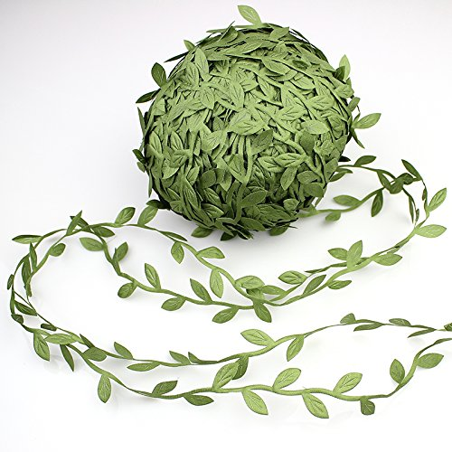 Supla 327 Ft Artificial Vines Fake Hanging Plants Leaves Ribbon Leaf Vine Trim Foliage Rattan DIY Wreath Foliage Green Leaves Ribbon Decorative Home Wall Garden Wedding Party Wreaths Decor (Decorative Leaves)