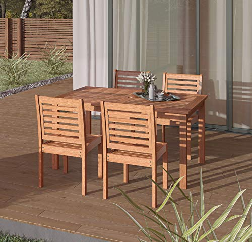 Amazonia Derby 5-Piece Patio Armless Rectangular Dining Set | Eucalyptus Wood |...