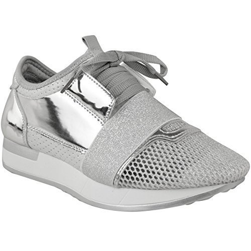 Sneakers argentate per donna Fashion thirsty MlGkz