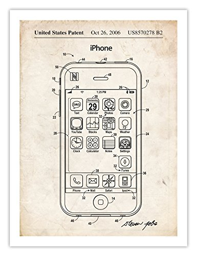 Apple iPhone Invention Poster, 2006 Patent Art Handmade Giclée Gallery Print, Unframed (18x24 inches) Apple Poster Print