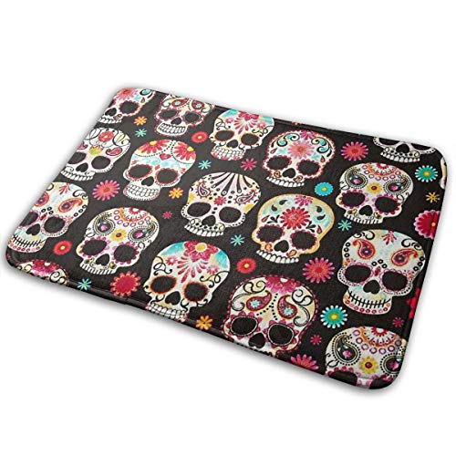 (Feim-AO Halloween Sugar Skulls Non-Slip Machine Washable Doormats Bathroom Kitchen Rug Indoor Outdoor Mats 30(L) X 18(W))