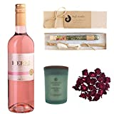 Relaxing Wine Bath Set Featuring Zero Rosé (Non-Alcoholic Sparkling Rose Wine), Reflection + Clarity Candle by Chesapeake, and Cherish Spring Bath Salts by Truly Aesthetic