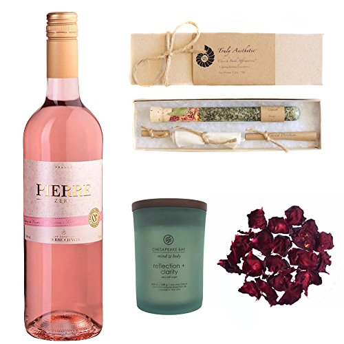 Relaxing Wine Bath Set Featuring Zero Rosé (Non-Alcoholic Sparkling Rose Wine), Reflection + Clarity Candle by Chesapeake, and Cherish Spring Bath Salts by Truly Aesthetic by Wines For Mothers