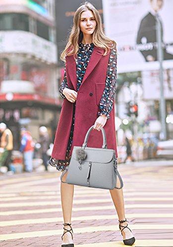 NICOLE&DORIS Moda Elegante Bolsos de Mano Totes para Mujer Monederos Mujer Bolso Commuter Bandolera Impermeable Durable Suave PU Blanco Gris Claro