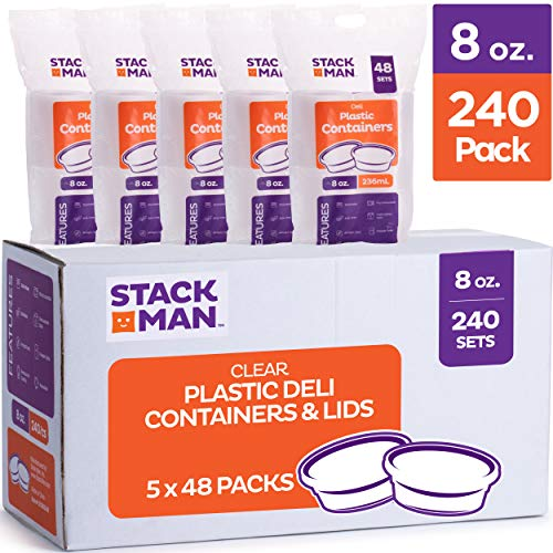 Stack Man Plastic Food Storage Deli Containers with Airtight Lids, 8 oz. (Case of 240)