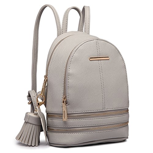 Miss Lulu Women Fashion Backpack Casual Small Saffiano PU Leather Waterproof Rucksack Mini Shoulder Bags (Grey)
