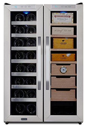 Whynter CWC-351DD Freestanding Wine Cooler and Cigar Humidor Center, 3.6 cu. ft, Stainless Steel/Black