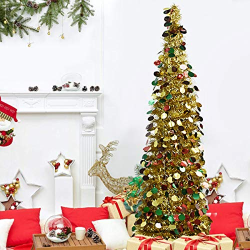 ElekFX Collapsible Christmas Trees 5ft Shiny Colorful Premium Tinsel Xmas Trees, Solid Metal Legs, Home/Shop/Party/Fireplace Decor - Gold