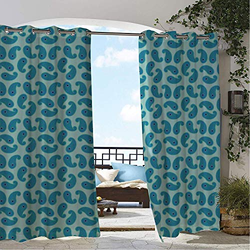 Linhomedecor Gazebo Waterproof Curtains Aqua Paisley Repetitive Teardrop Shaped Oriental Inspired Pattern Night Blue Dark Seafoam Ceil Blue pergola Grommet Patterned Curtain 84 by 84 -